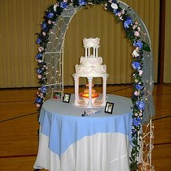 White Wedding Arches cake backdrop
