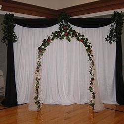 White Wedding Arch with added fabric panel backdrop (2 sections)