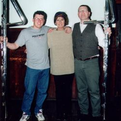 Arrival of the Contrabass Flute. John Bryce and Dougie Russell are pictured with Dutch flute-maker Eva Kingma.