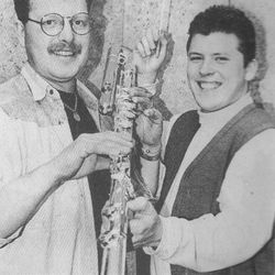 New GG Bass: Dougie Russell and John Bryce pictured in February 1995. The value of the flute at the time was £6000 and was the first of its kind.