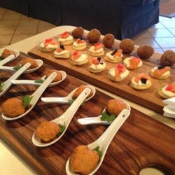 Arrancini, smoked salmon blini and thai fish cakes.