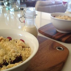 Apple berry port crumble with creme Anglaise