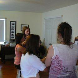 Reiki Master Teacher students practing Reiki attunements at Cedar Cove Wellness Cobourg ON