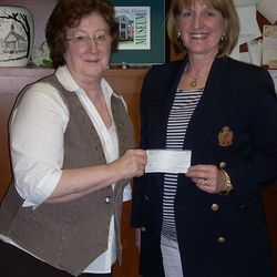 Clarion DAR Regent Betty Elza & CCHS Director   Mary lea Lucas with $2.000 NSDAR Grant.  Clarion American donated $2,000 matching funds.