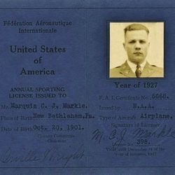 Marquis Markle's Pilot License signed by Orville Wright.
