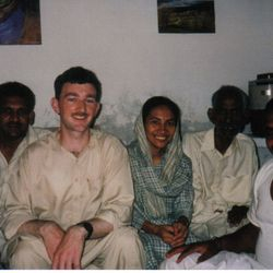 Seamus in Pakistan with some parishioners.