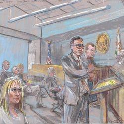 Wednesday, March 30, 2016 L to R: Jennifer Martin, Bob Filner, George Schaeffer, Kristin Zlotnik, Stacie McKenzie(below), Jim Mitchell, Daniel Gilleon, Judge Timothy Taylor,  (jurors).