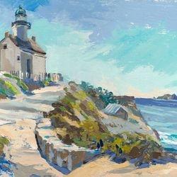 """Cabrillo Light House, oil, 9x12"""", 2013"""