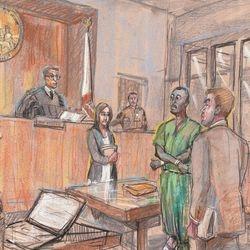 Friday, July 31, 2015 L to R: Bailiff, Judge Deddeh, Jennifer Tag, David Angelo Drake III, Daniel Greene.