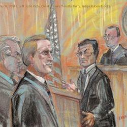 Wednesday, May 14, 2014 L to R: John Kirby, Derek Cohen, Timothy Perry, Judge Rueben Brooks