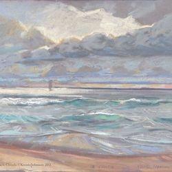 "OB Storm Waves, 16x20"" Pastel, 2011"