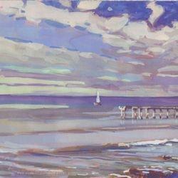 """OB Stormy Sail, 6x8"""", Gouache, 2009"""