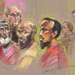 Monday, November 18, 2012 L to R Issah Doreh, Judge Jeffery Miller, Mohamed Mohamed Mohamud, Basaaly Saeed Moalin, Joshua Dratel, William Cole.