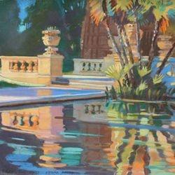"Sunset Reflecting Pond, 19x23"" Pastel, 2007"