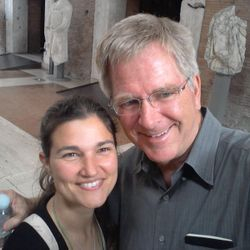 Cristina guiding Rick. Cristina has been featured in Rick Steves' book since 2010