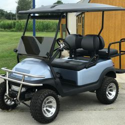 """2014 Club Car Precedent - 6"""" A-Arm Lift - Brush Guard - Extended Roof - Guardian Rear Flip Seat - Custom Painted Body - Two Tone Seats"""
