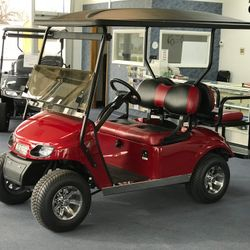 "2016 EZGo TXT Gas - 2"" Lift - Custom Wheels - Two Tone Seats - Guardian Rear Flip Seat - Extended Roof"
