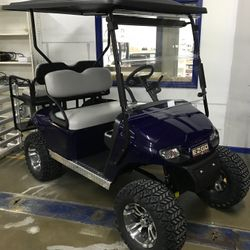 "2016 EZGo TXT Gas - Custom Painted Body - Extended Roof - 5"" Lift - Custom Wheels - Street Legal Light Kit"