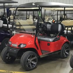 "2016 EZGo TXT Gas - Extended Roof - Two Tone Seats - 2"" Lift - Custom Wheels - Street Legal Light Kit - Custom Painted Body"