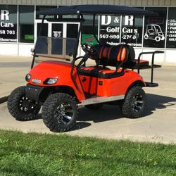 "2016 EZGo TXT Gas - 5"" Lift - Custom Wheels - Two Tone Seats - Guardian Flip Seat - Extended Roof - Street Legal Light Kit"