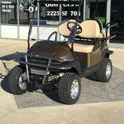 "2014 Club Car Precedent  - 6"" A-Arm Lift - Custom Wheels - Brush Guard- Guardian Rear Flip Seat - Street Legal Light Kit"