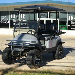 "2014 Club Car Precedent 48V - 6"" A-Arm Lift - Custom Wheels - Extended Roof - Street Legal Light Kit - Two Tone Seats - Guardian Rear Flip Seat - Dash - Custom Steering Wheel"