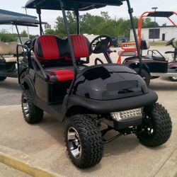 "2012 Club Car Precedent 48V - 6"" A-Arm Lift - Street Legal Light Kit - Custom Wheels - Two Tone Seats - Rear Flip Seat"