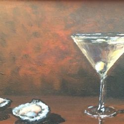 "Martini on the Half Shell 11""X14"" acrylic on canvas $250"