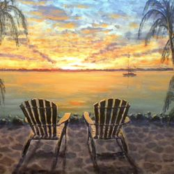 "Sunset View 36""X36"" acrylic on canvas $650"