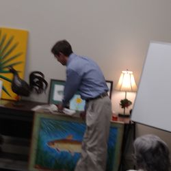 Joseph Sumner presents at the March 5, 2018 Membership meeting. The topic: metalwork and watercolors.