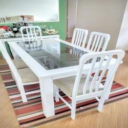 mesa e cadeiraslaqueção branca