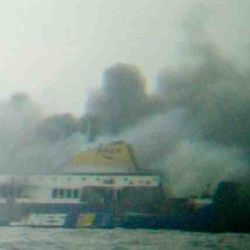 flamming Ferry in the Adriatic Sea ,December 28, 2014