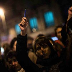 Raising silently  pens for Charlie Hebdo attack