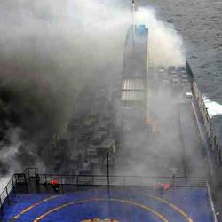 flaming Norman Atlantic Ferry in Adratic Sea