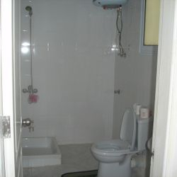 Bathroom has shower, toilet, washbasin, water heater.