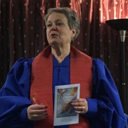 Rev. Sue Landon at the Chartering Service for ISD Oneonta, 6-3-17