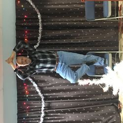 Tom Landon helping (in his way) to decorate the center for the holidays!