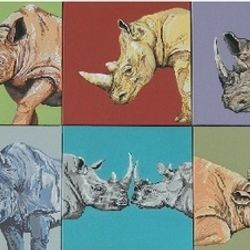 Heather's Rhinos (one for each family member) Set of 10; 12x12 inches acrylic on wrapped canvas