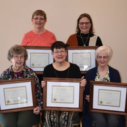 2019 Women In History Rozanne Ruzic (TL), Nancy Hindes (TR), Betty Stasny (BL), Mary Cooley (BM), Carol Hornby (BR)