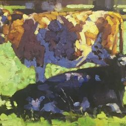 Red and black cows  12x16
