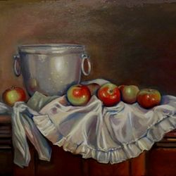 Apples on an Apron; Oil, 22 x 26 inches