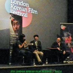 Sol Kyung-gu (centre) Tony Rayns ( right) Interpreter Sah (left)