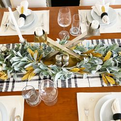 Mixed up old and new things for the table.  I had the gold leaves, the green ones were new from TJ Maxx, new napkins, old napkin rings, old collection of different candles collected over the years, etc