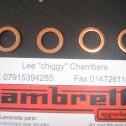 Thick disc brake copper crush washers