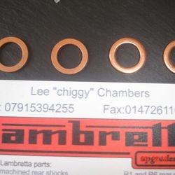 Copper disc brake crush washers