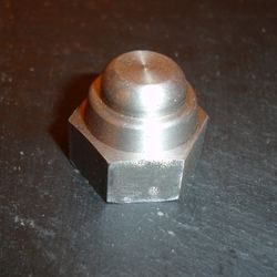 Rear hub nut. Stainless steel, original shape.
