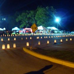 The hundreds of luminaries lining the parking lot of the church to honor those fighting cancer or those lost to cancer.