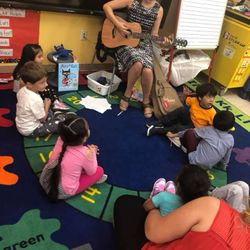 Pre-K students are having fun in music class!