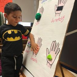 What do you feel? Today, we definitely feel a bit chilly! But, PreK 103 used their sense of touch to describe what they felt on their touch board. They learned and reviewed new words such as soft,bumpy,scratchy, smooth and rough .  Location: 173-177 25th Street
