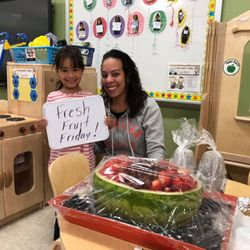 "Site: 219 25th Street Class: PK 117  Yum! Students in PK 117 love ""Fresh Fruit Friday"". Thank you parents for your creative and delicious contributions!"